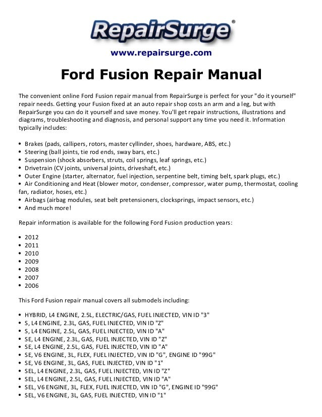 owners manual for 2006 ford fusion