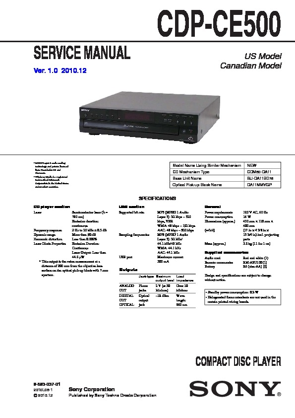 sony cdp ce500 owners manual